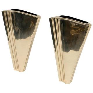 Larry Laslo Art Deco Revival Brass Vases - a Pair For Sale