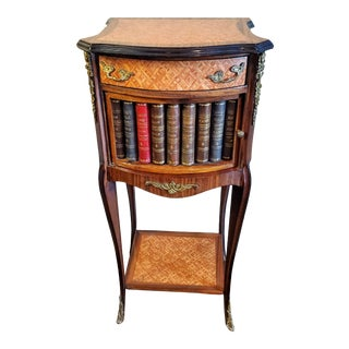 1940s French Rosewood Parquetry Ormolu Mounted Faux Book Bedside Table For Sale