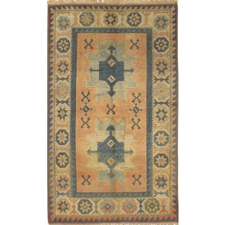 """Pasargad N Y Kazak Design Hand-Knotted Area Rug -- 4'2"""" X 6'6"""" For Sale"""