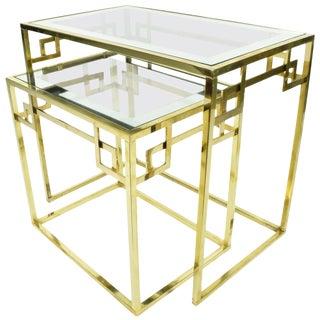 Greek Key Classic Italian Nesting Tables - A Pair For Sale