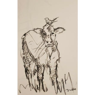 Cow & Bird Original Charcoal Paper Sketch Drawing by Jo Trujillo For Sale