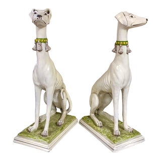 Pair of Hollywood Regency Cast Ceramic Hand Painted Whippets For Sale