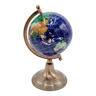 Vintage Blue Lapis World Globe With Semiprecious Gems For Sale