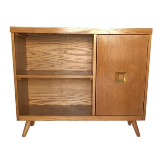 Mid Century Modern Blonde Bar Cabinet Bookcase Console Table