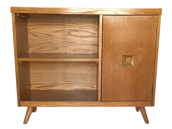 Mid Century Modern Blonde Bar Cabinet Bookcase Console Table   Image 1 Of 12