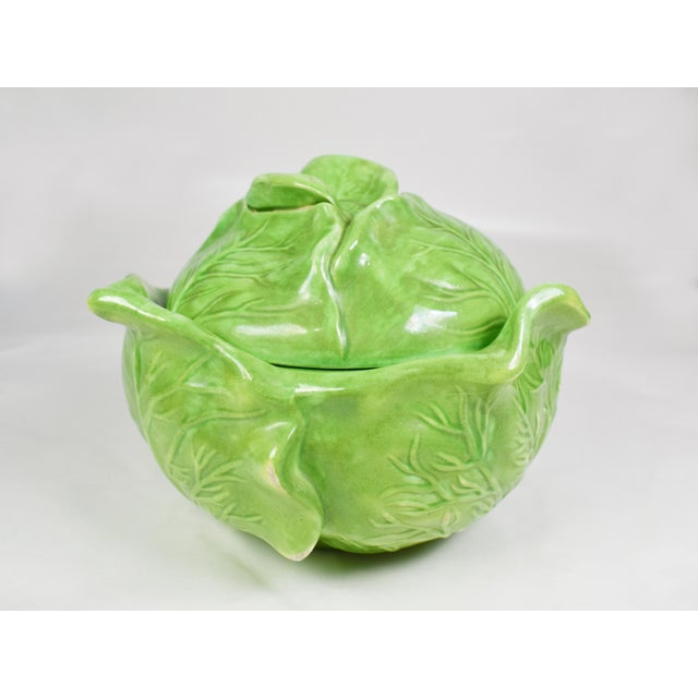 Mid-Century Holland Mold Ceramic Lettuce or Cabbage Serving Bowl With Lid For Sale - Image 6 of 12