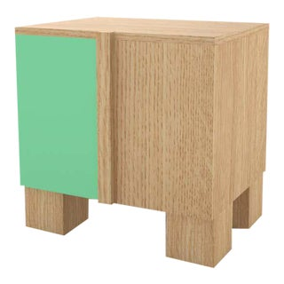 Contemporary 100 Bedside in Oak and Mint by Orphan Work, 2020 For Sale