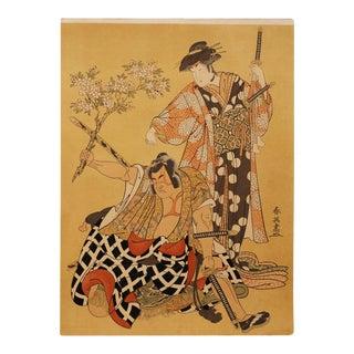 Kabuki Actors Original Woodblock Print by Katsukawa Shun'ei For Sale
