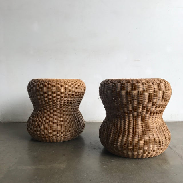 Mid-Century Modern Late 20th Century Rattan Side Table For Sale - Image 3 of 10