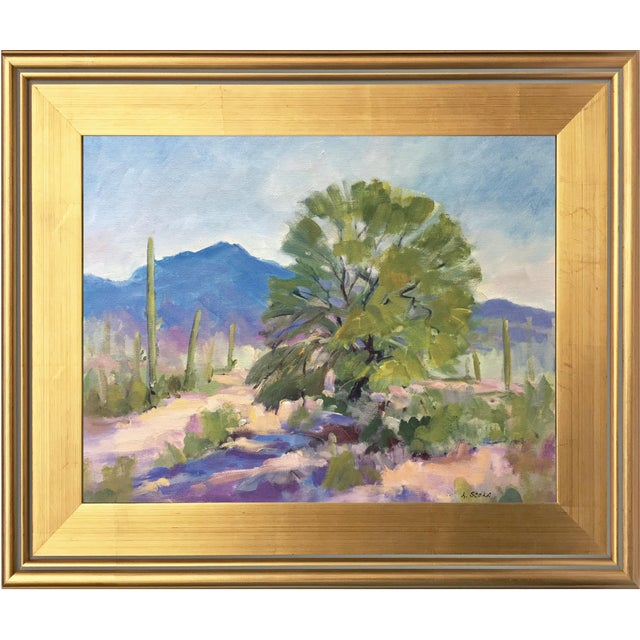 Southwest Landscape With Cactus and Mesquite Tree by Scola - Image 1 of 6