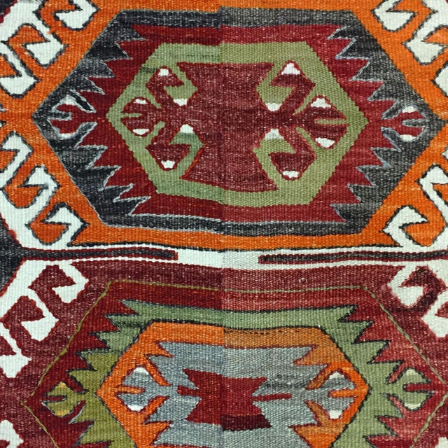 Semi-Antique Turkish Kilim Aydin Flatweave Rug - 7′1″ × 9′2″ For Sale - Image 4 of 5