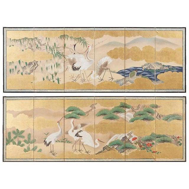 Pair of Japanese Six Panel Meiji Crane Landscape Screens For Sale - Image 13 of 13