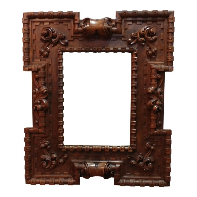 18th Century Carved Wooden Framed Mirror | Chairish