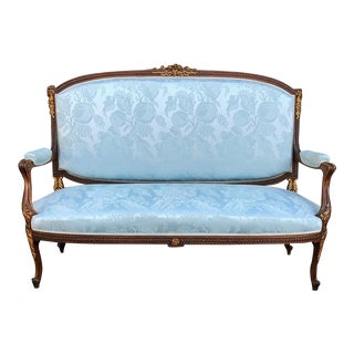 French Louis XVI Mahogany Sofa With Silk Damask For Sale