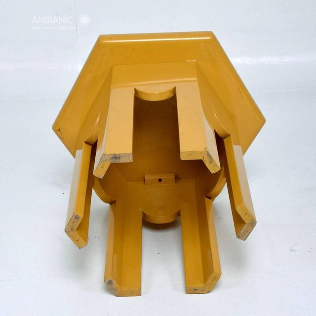 Country Yellow Lacquer Finish Hexagon Side Table For Sale - Image 3 of 6