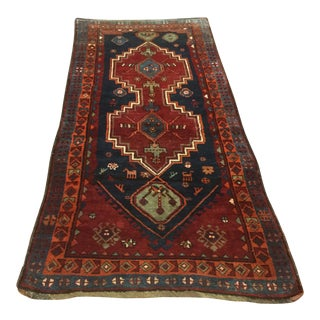 "1930's Vintage Persian Tribal Kurdish Rug-3'5'x8'2"" For Sale"