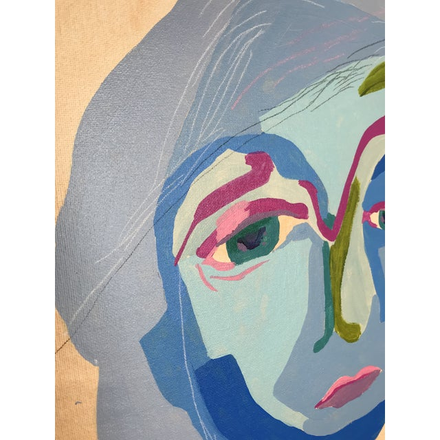 """Abstract Contemporary Abstract Portrait Painting """"Here We Go, No. 3"""" For Sale - Image 3 of 9"""