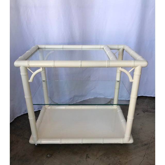 Modern 1980s Bamboo-Style White Lacquer Bar Cart/ Trolley For Sale - Image 3 of 10