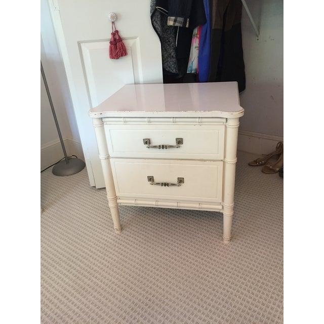 Mid 20th Century Henry Link White Faux Bamboo Dresser With Mirror and Side Table / Night Stand - 3 Pc. Set For Sale - Image 5 of 8