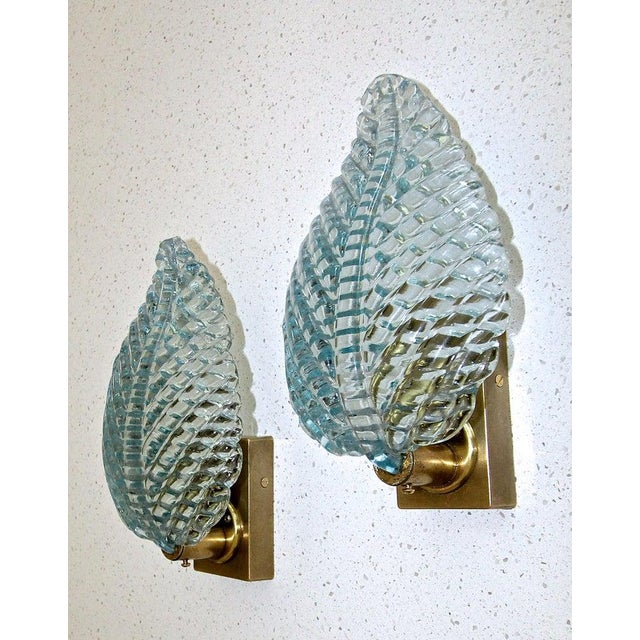 1950s Barovier Murano Aqua Blue Leaf Glass Wall Sconces - a Pair For Sale - Image 9 of 12