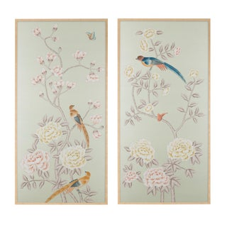 "Simon Paul Scott for Jardins en Fleur ""Chatsworth House"" Chinoiserie Hand-Painted Silk Diptych - 2 Pieces For Sale"