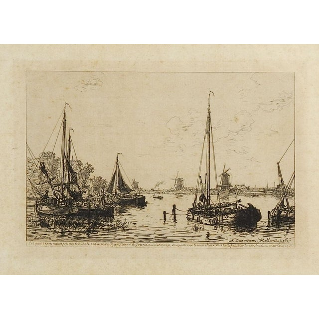 Dutch Harbor Scene Etching 1877 For Sale - Image 4 of 4