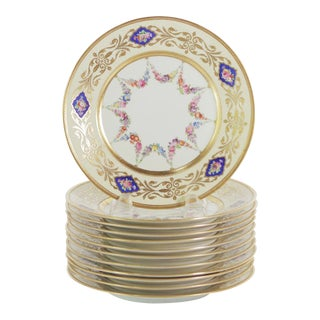 1900s Edwardian Painted and Gold Gilt Porcelain Accent Plates - Set of 12 For Sale