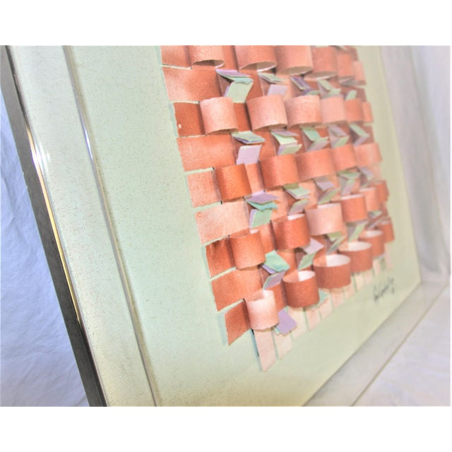 Green Mid-Century Modern Mixed Media Art in Lucite Box Frame Signed Greg Copeland For Sale - Image 8 of 13