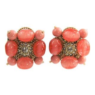 Vintage Art Glass Swirl Bead Necklace & Earrings Set For Sale
