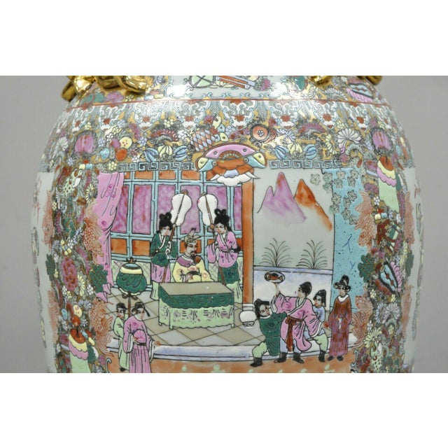 Mid 20th Century Vintage Chinese Export Rose Medallion Porcelain Palace Urn Vase For Sale - Image 5 of 13