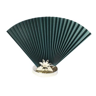 Mid 20th Century Reversible Accordion Fan Table Lamp in Green and Gold For Sale
