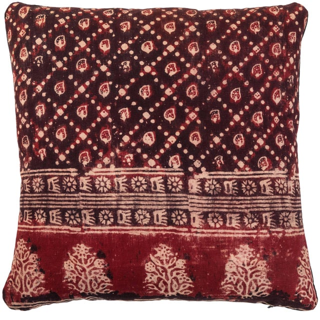 Late 20th Century Antique Indian Resist Dyed Pillow For Sale - Image 5 of 5