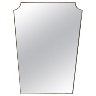 1950s Mid-Century Minimal Brass Frame Wall Mirror For Sale