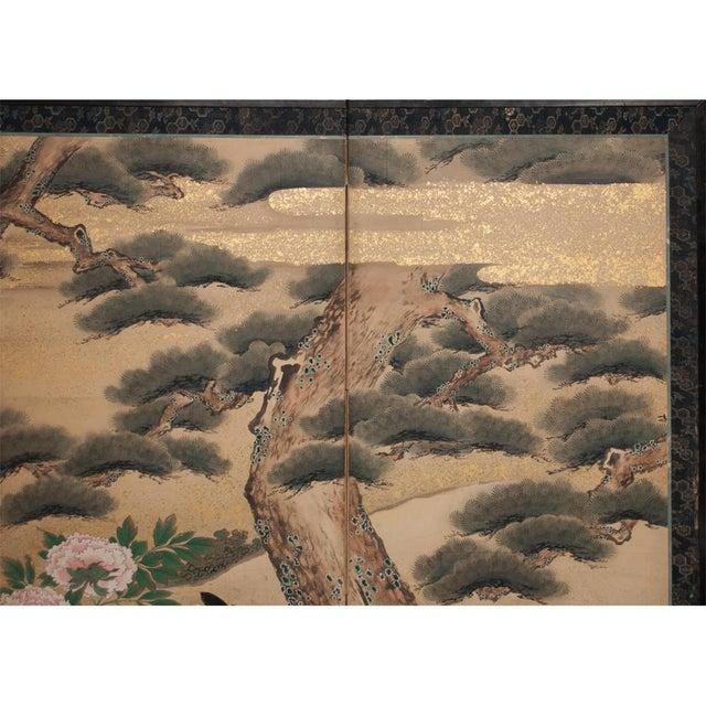 Edo Era Monumental Japanese Six-Panel Byobu Screen For Sale - Image 9 of 13