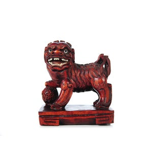 Chinese Antique Carved Wood Foo Dog For Sale
