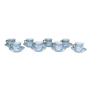 "Royal Copenhagen ""Flora Danica"" Form Demitasse Cups and Saucers - Set of 8 For Sale"