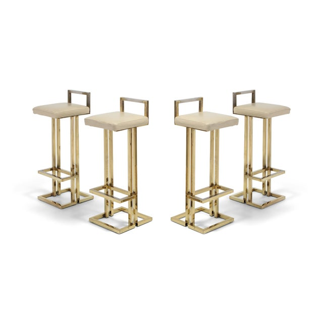 Gold Maison Jansen Brass Stools Set of Four For Sale - Image 8 of 8