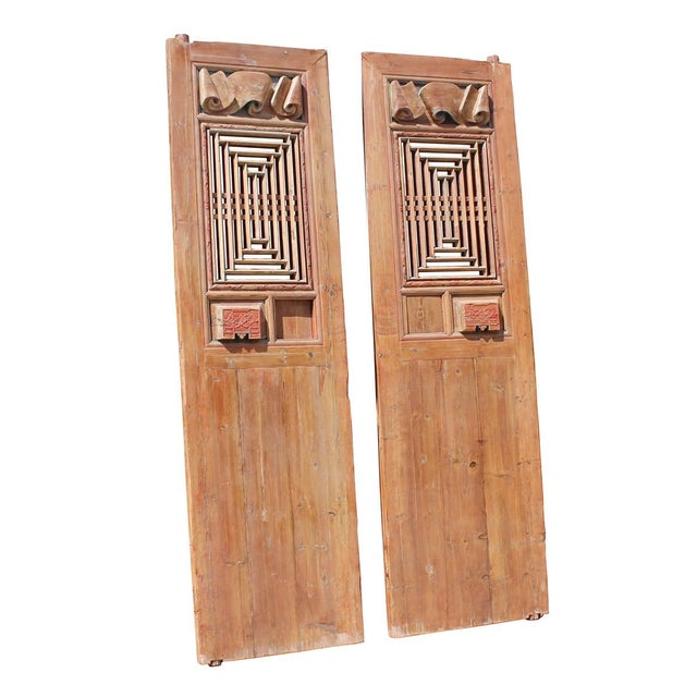 Chinese Vintage Dimensional Scroll Carving Wood Door Panels - A Pair For Sale - Image 4 of 6