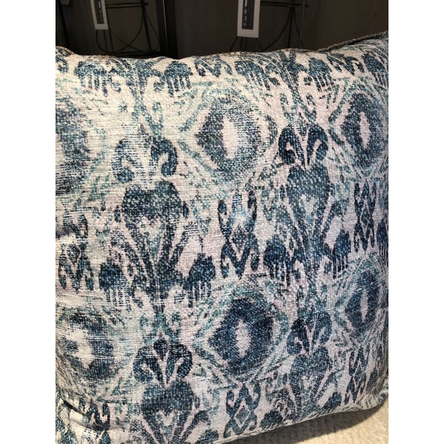2020s Distressed Blue Ikat Outdoor Pillow For Sale - Image 5 of 7