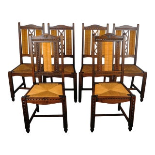 1950's French Country Cane Rush Seat and Back Dining Chairs - Set of 6 For Sale