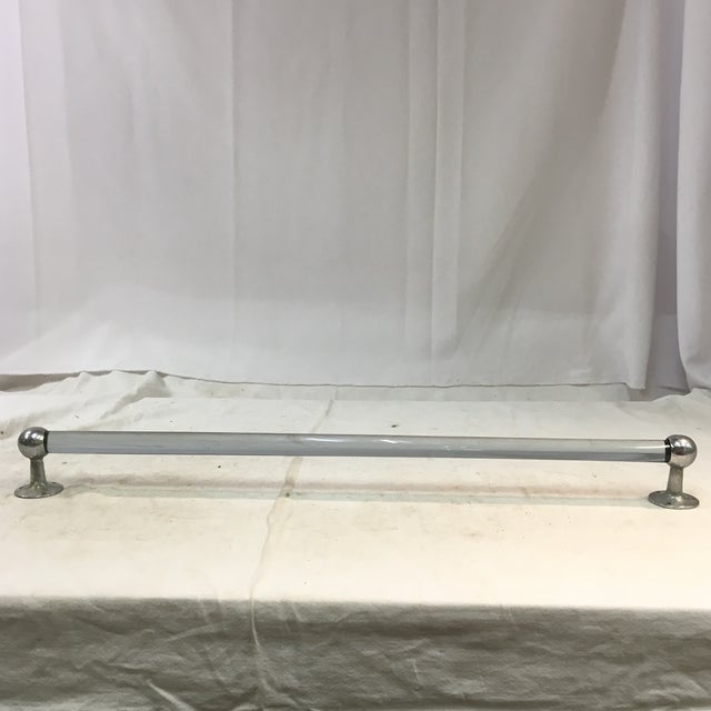 Vintage Long Blue Lucite Towel Bar With Chrome Hardware For Sale - Image 4 of 10