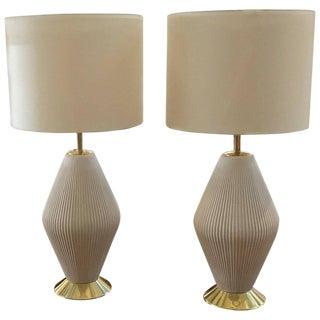 Gerald Thurston for Lightolier Porcelain Lamps, 1950s - a Pair For Sale