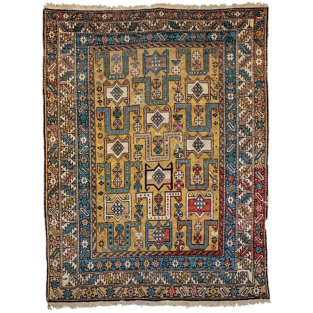 Shirvan 19th Century Caucasian Rug - 3′10″ × 4′10″ For Sale