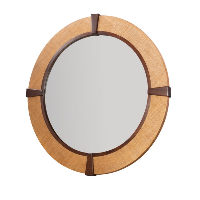 An elegant and striking round mirror from Century Furniture's Purveyor Collection. Crafted of Raffia with Beech Solids trim.