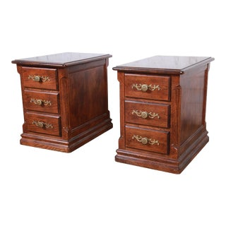French Country Oak Three-Drawer Nightstands by Hickory For Sale