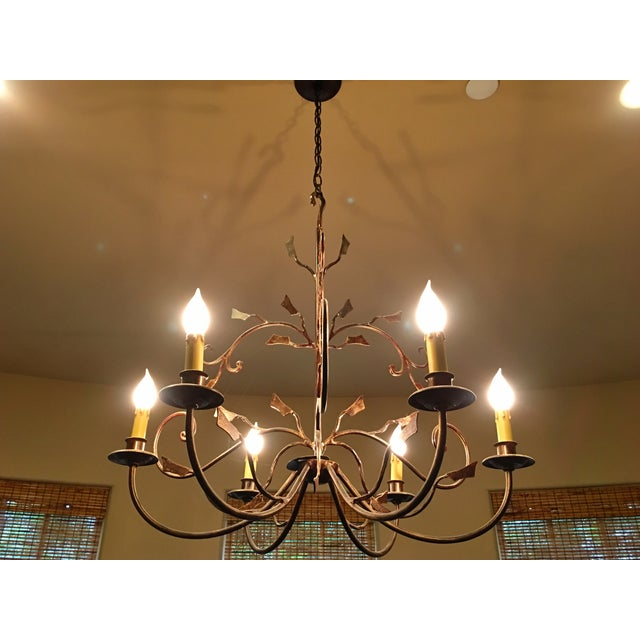 6-Light Bronze Iron Foliage Chandelier - Image 2 of 4