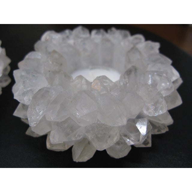 Clear Quartz Candle Holders - A Pair - Image 2 of 11