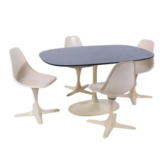 1960's Mid-Century Modern Burke Inc. Star Trek Style Dining Set - 5 Pieces For Sale