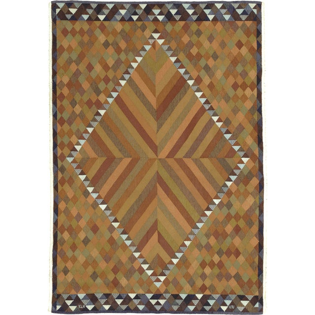 """Mid 20th Century Mid 20th Century Swedish Flat Weave Rug - 5'9"""" X 8'4"""" For Sale - Image 5 of 5"""