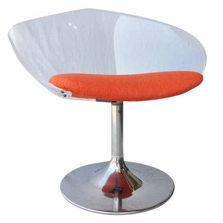 Mid-Century Lucite Swivel Chair With Chrome Tulip Base For Sale